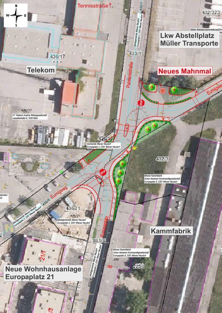 Neue Verkehrsführung Kreuzungsbereich Palmersstraße/Eumigweg/Europaplatz