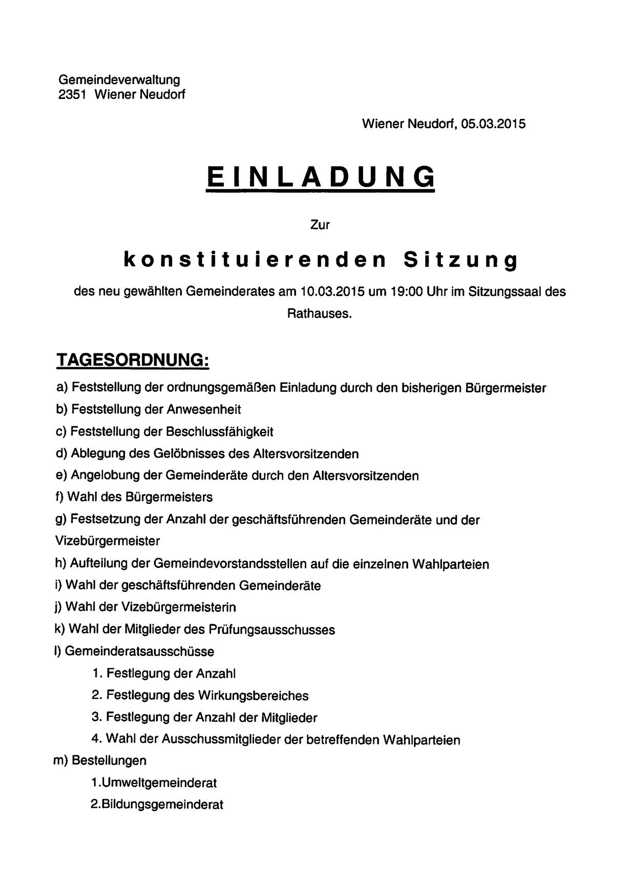 Einladung konstituierende Sitzung